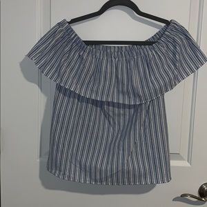 Blue and white, off the shoulder shirt
